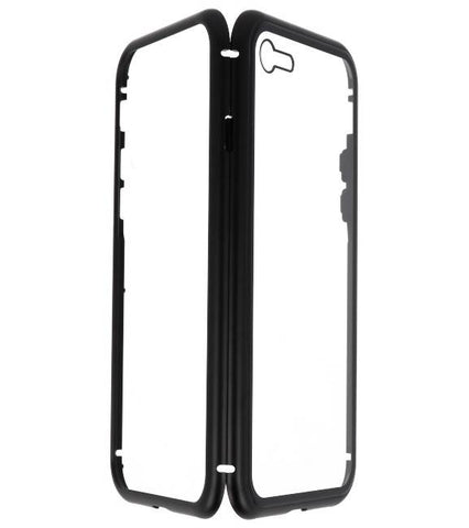 iPhone 8 Zwart - Transparant | Magnetic Back Cover  | WN™ - hoesjeshoek