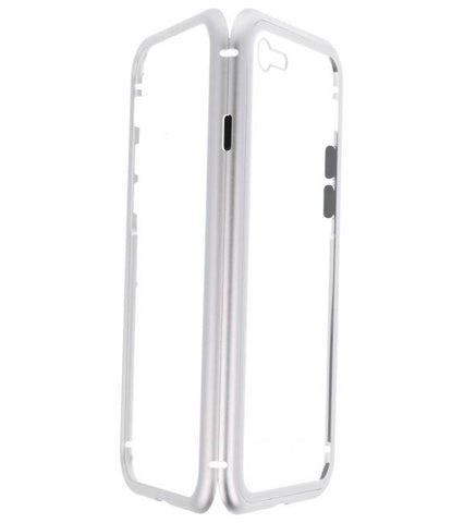 iPhone 8 Zilver - Transparant | Magnetic Back Cover  | WN™ - hoesjeshoek