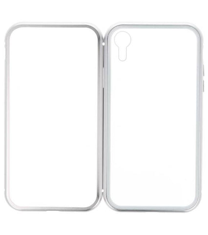 iPhone XR Zilver - Transparant | Magnetic Back Cover  | WN™ - hoesjeshoek