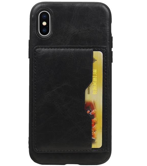 iPhone X Zwart | Staand Back Cover 1 Pasjes  | WN™ - hoesjeshoek