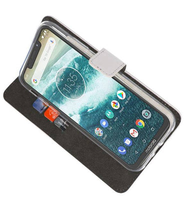 Motorola Moto One Power Wit | Wallet Case Hoesje  | WN™ - hoesjeshoek