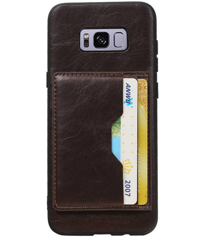 Samsung Galaxy S8 Plus Mocca | Staand Back Cover 2 Pasjes  | WN™ - hoesjeshoek