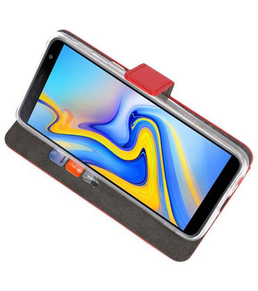 Samsung Galaxy J6 Plus Rood | Wallet Case Hoesje  | WN™ - hoesjeshoek