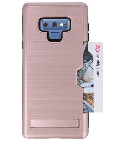 Note 9 Rose Goud | Tough Armor Kaarthouder Stand Hoesje  | WN™ - hoesjeshoek