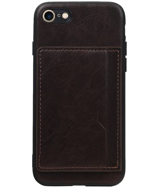 iPhone 8 / 7 Mocca | Staand Back Cover 1 Pasjes  | WN™ - hoesjeshoek