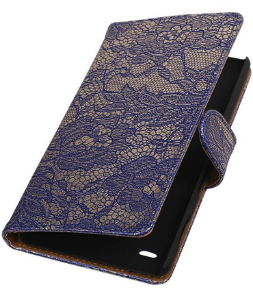 sony Xperia Z5 Compact Blauw | Lace bookstyle / book case/ wallet case Hoes  | WN™ - hoesjeshoek