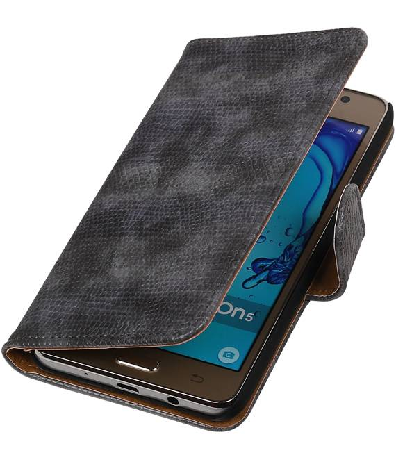 Samsung Galaxy On 5 Grijs | Lizard bookstyle / book case/ wallet case Hoes  | WN™ - hoesjeshoek