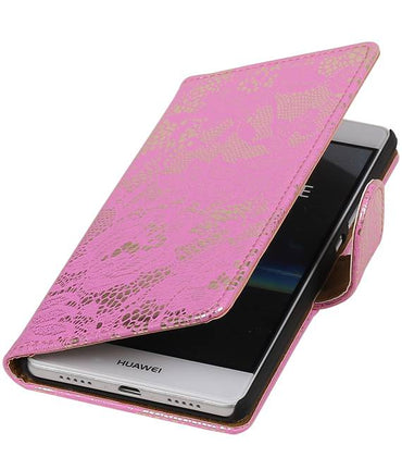 One Plus X Roze | Lace bookstyle / book case/ wallet case Hoes  | WN™ - hoesjeshoek