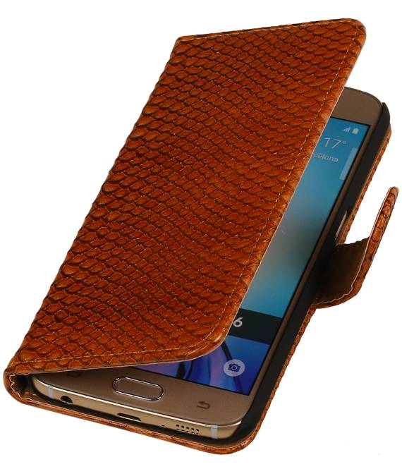 Samsung Galaxy S6 G920F Bruin | Snake bookstyle / book case/ wallet case Hoes  | WN™ - hoesjeshoek