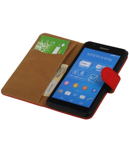 sony Xperia E4g Rood | bookstyle / book case/ wallet case Hoes  | WN™ - hoesjeshoek