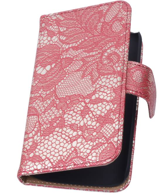 Huawei Huawei Ascend Y300 Rood | Lace bookstyle / book case/ wallet case Hoes  | WN™ - hoesjeshoek