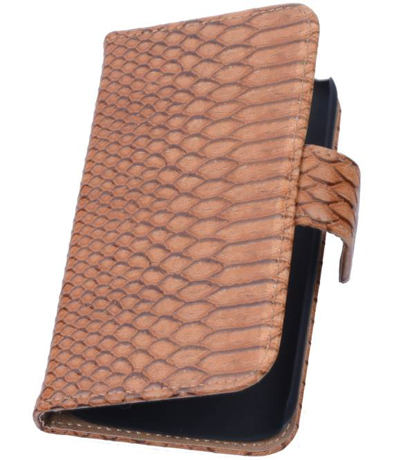 Huawei Huawei Ascend G630 Bruin | Snake bookstyle / book case/ wallet case Hoes  | WN™ - hoesjeshoek