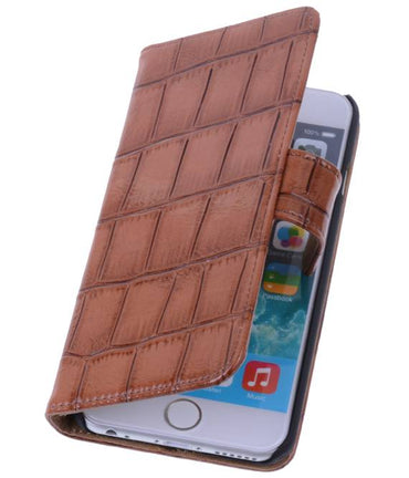 iPhone 6 Bruin | Glans Croco bookstyle / book case/ wallet case Hoes  | WN™ - hoesjeshoek