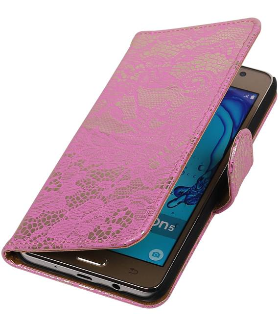 Samsung Galaxy On 5 Roze | Lace bookstyle / book case/ wallet case Hoes  | WN™ - hoesjeshoek