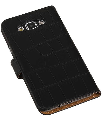 Samsung Galaxy E7 Zwart | Croco bookstyle / book case/ wallet case Hoes  | WN™ - hoesjeshoek