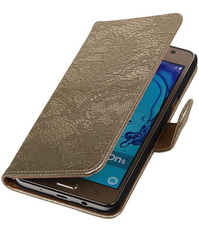 Samsung Galaxy On 5 Goud | Lace bookstyle / book case/ wallet case Hoes  | WN™ - hoesjeshoek