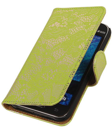 Samsung galaxy j1 2015 J100F Groen | Lace bookstyle / book case/ wallet case Hoes  | WN™ - hoesjeshoek