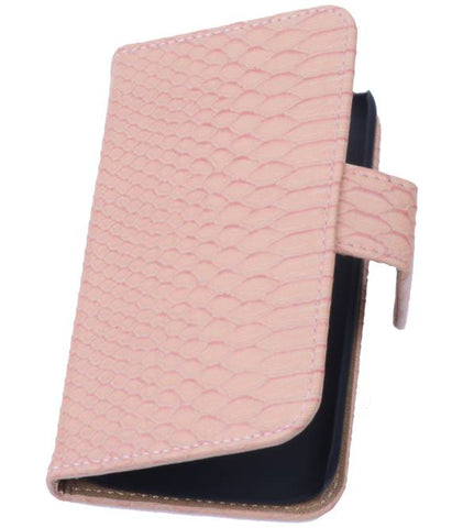 sony Xperia Z3 Compact Licht Roze | Snake bookstyle / book case/ wallet case Hoes  | WN™ - hoesjeshoek