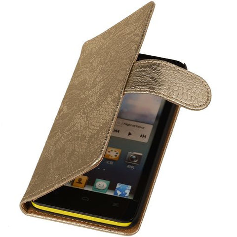 Huawei Huawei Ascend G510 Goud | Lace bookstyle / book case/ wallet case Hoes  | WN™ - hoesjeshoek