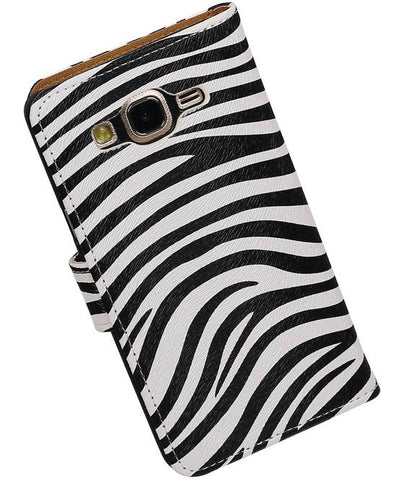 Samsung Galaxy On 5 Wit | Zebra bookstyle / book case/ wallet case Hoes  | WN™ - hoesjeshoek