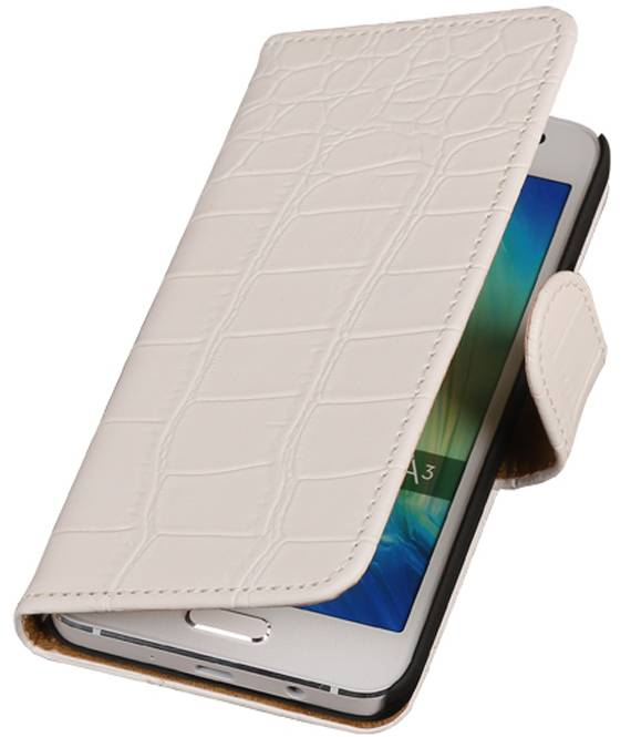 Huawei Mate 7 Wit | Croco bookstyle / book case/ wallet case Hoes  | WN™ - hoesjeshoek