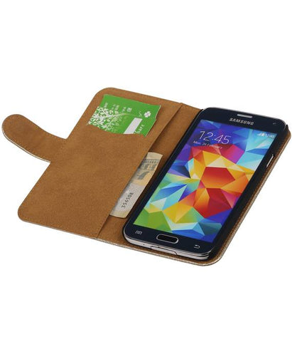 Samsung Galaxy S5 G900F Goud | Lace bookstyle / book case/ wallet case Hoes  | WN™ - hoesjeshoek