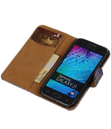 Samsung galaxy j1 2015 J100F Blauw | Lace bookstyle / book case/ wallet case Hoes  | WN™ - hoesjeshoek