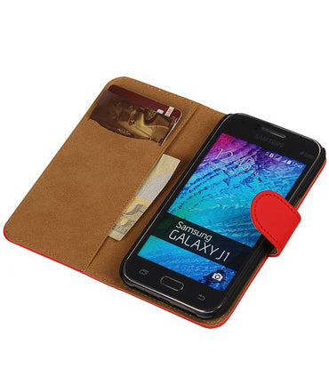 Samsung galaxy j1 2015 J100F Rood | bookstyle / book case/ wallet case Hoes  | WN™ - hoesjeshoek