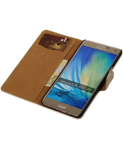 Samsung galaxy a7 2015 Goud | Lace bookstyle / book case/ wallet case Hoes  | WN™ - hoesjeshoek