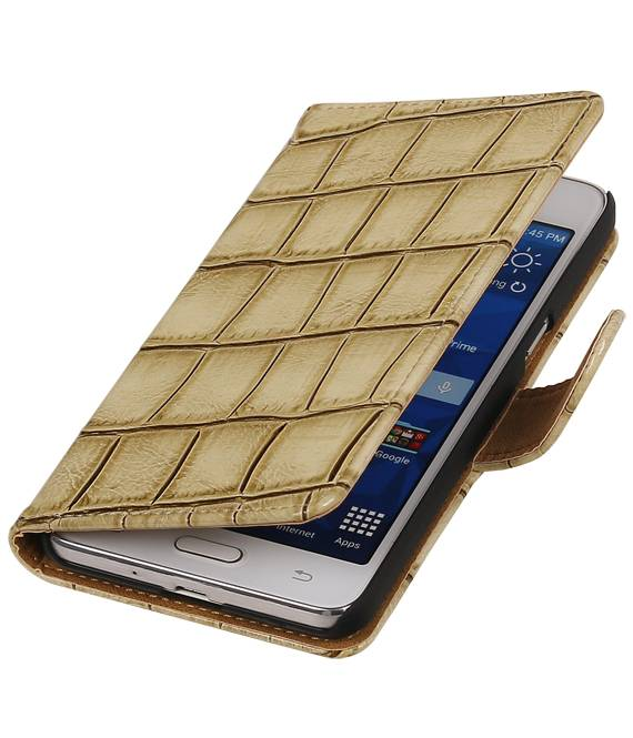 Samsung Galaxy Prime G530F Beige | Glans Croco bookstyle / book case/ wallet case Hoes  | WN™ - hoesjeshoek