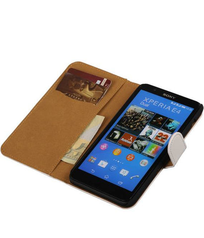 sony Xperia E4 Wit | bookstyle / book case/ wallet case Hoes  | WN™ - hoesjeshoek