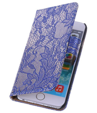 iPhone 6 Blauw | Lace bookstyle / book case/ wallet case Hoes  | WN™ - hoesjeshoek