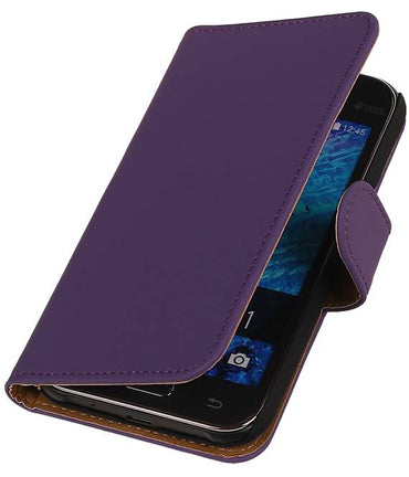 Samsung galaxy j1 2015 J100F Paars | bookstyle / book case/ wallet case Hoes  | WN™ - hoesjeshoek