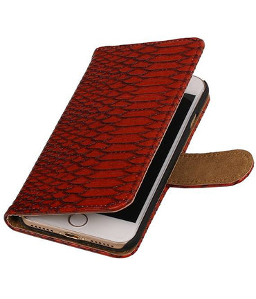 iPhone 7/8 Rood | Snake bookstyle / book case/ wallet case Hoes  | WN™ - hoesjeshoek