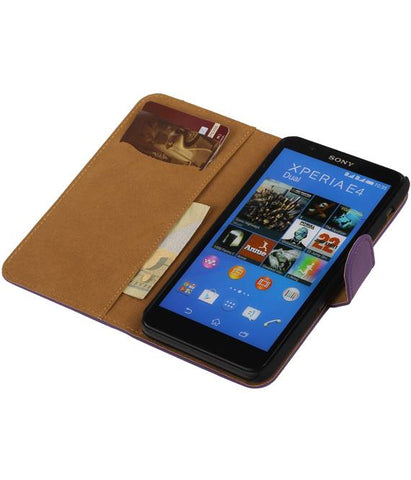 sony Xperia E4 Paars | bookstyle / book case/ wallet case Hoes  | WN™ - hoesjeshoek
