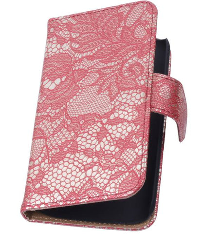 Huawei Huawei Ascend G610 Rood | Lace bookstyle / book case/ wallet case Hoes  | WN™ - hoesjeshoek