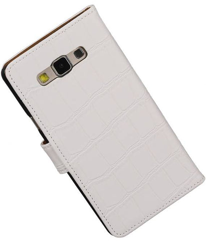 Samsung galaxy a7 2015 Wit | Croco bookstyle / book case/ wallet case Hoes  | WN™ - hoesjeshoek
