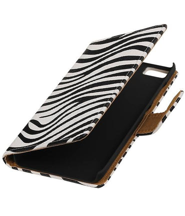 Wiko Lenny 2 Wit | Zebra bookstyle / book case/ wallet case Hoes  | WN™ - hoesjeshoek