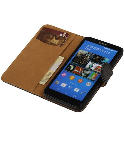 sony Xperia E4 Zwart | Croco bookstyle / book case/ wallet case Hoes  | WN™ - hoesjeshoek