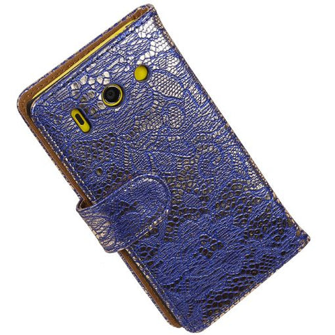 Huawei Huawei Ascend Y300 Blauw | Lace bookstyle / book case/ wallet case Hoes  | WN™ - hoesjeshoek