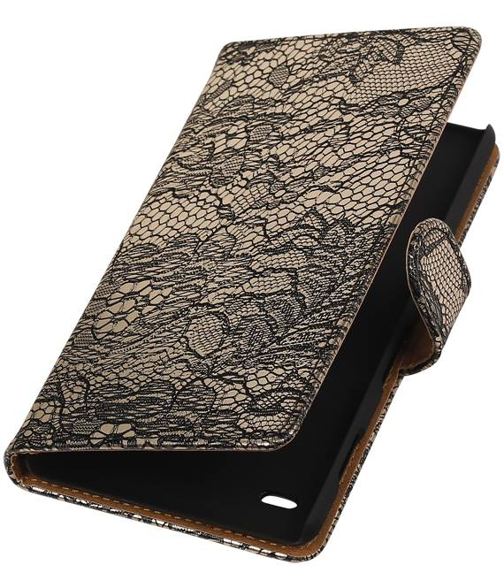 sony Xperia Z5 Compact Zwart | Lace bookstyle / book case/ wallet case Hoes  | WN™ - hoesjeshoek