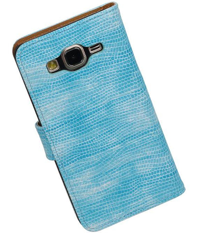 Samsung Galaxy On 5 Turquoise | Lizard bookstyle / book case/ wallet case Hoes  | WN™ - hoesjeshoek