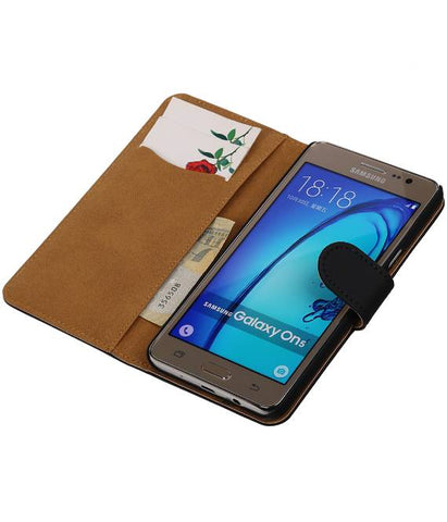 Samsung Galaxy On 5 Zwart | bookstyle / book case/ wallet case Hoes  | WN™ - hoesjeshoek