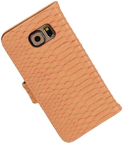 Samsung Galaxy S6 G920F Licht Roze | Snake bookstyle / book case/ wallet case Hoes  | WN™ - hoesjeshoek