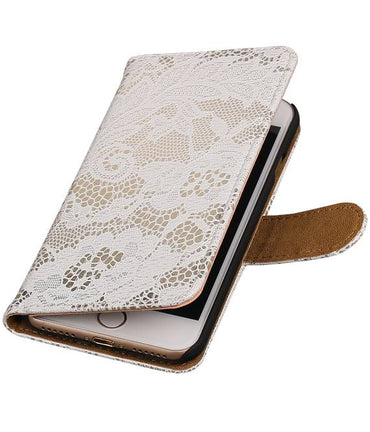 iPhone 7/8 Wit | Lace bookstyle / book case/ wallet case Hoes  | WN™ - hoesjeshoek