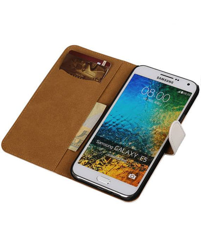 Samsung Galaxy E5 Wit | bookstyle / book case/ wallet case Hoes  | WN™ - hoesjeshoek