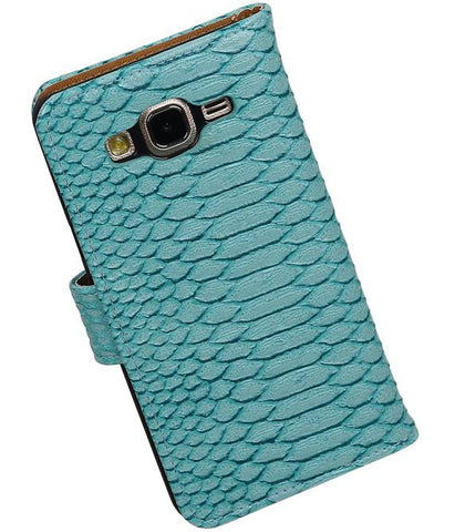 Samsung Galaxy On 5 Turquoise | Snake bookstyle / book case/ wallet case Hoes  | WN™ - hoesjeshoek