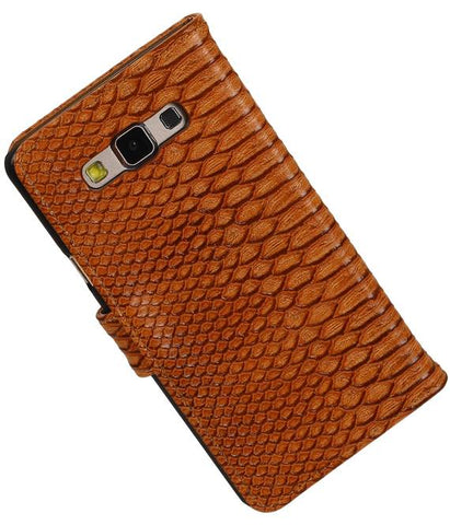 Samsung galaxy a7 2015 Bruin | Snake bookstyle / book case/ wallet case Hoes  | WN™ - hoesjeshoek