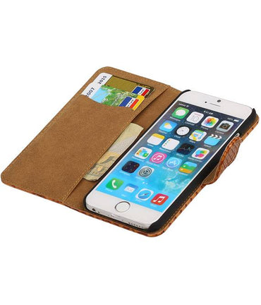 iPhone 6 Bruin | Snake bookstyle / book case/ wallet case Hoes  | WN™ - hoesjeshoek