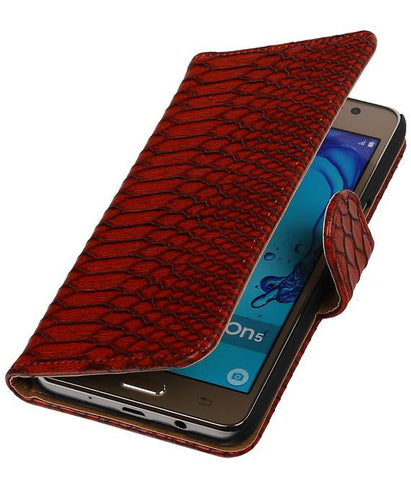 Samsung Galaxy On 5 Rood | Snake bookstyle / book case/ wallet case Hoes  | WN™ - hoesjeshoek